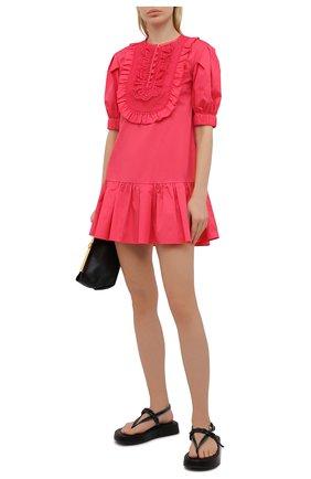 Женское хлопковое платье SELF-PORTRAIT фуксия цвета, арт. SS21-022A | Фото 2