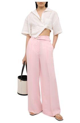 Женские брюки из вискозы и льна PROENZA SCHOULER розового цвета, арт. R2126002-AY133 | Фото 2