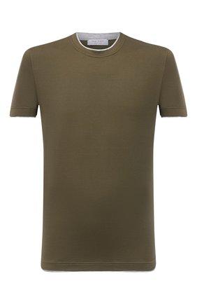 Мужская хлопковая футболка GRAN SASSO хаки цвета, арт. 60123/73710 | Фото 1