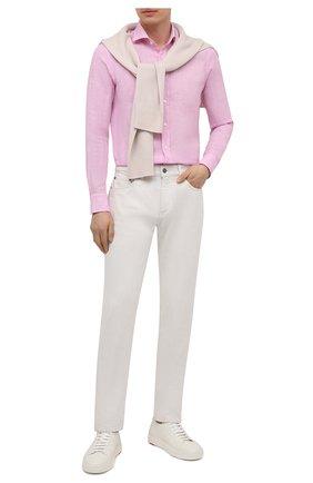 Мужская льняная рубашка BAGUTTA розового цвета, арт. ANDREA_EBLW/00045 | Фото 2
