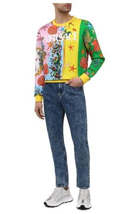 Мужской хлопковый свитшот VERSACE разноцветного цвета, арт. A89387/1F01213 | Фото 2