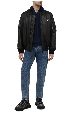 Мужской худи из шерсти и кашемира VERSACE темно-синего цвета, арт. A87203/A235893 | Фото 2