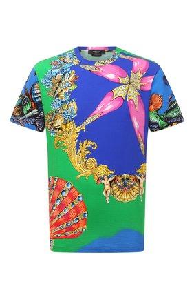 Мужская хлопковая футболка VERSACE разноцветного цвета, арт. A76113/1F01159 | Фото 1