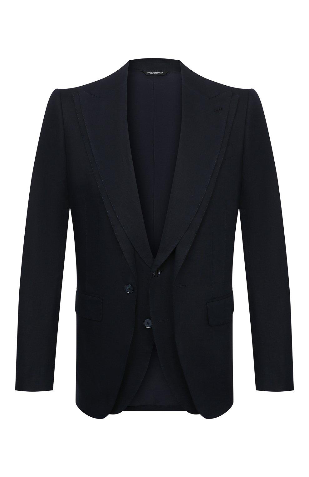 Мужской льняной пиджак DOLCE & GABBANA синего цвета, арт. G2PJ5T/FU4IK   Фото 1