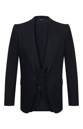 Мужской льняной пиджак DOLCE & GABBANA синего цвета, арт. G2PJ5T/FU4IK | Фото 1
