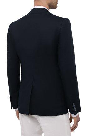 Мужской льняной пиджак DOLCE & GABBANA синего цвета, арт. G2PJ5T/FU4IK   Фото 4