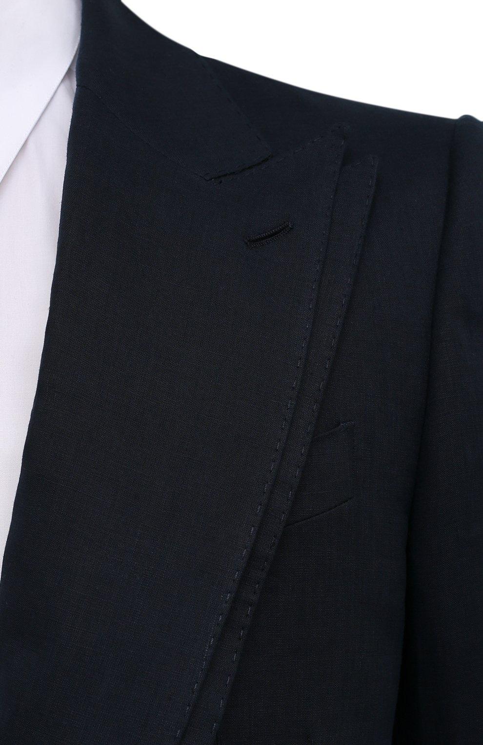 Мужской льняной пиджак DOLCE & GABBANA синего цвета, арт. G2PJ5T/FU4IK   Фото 5