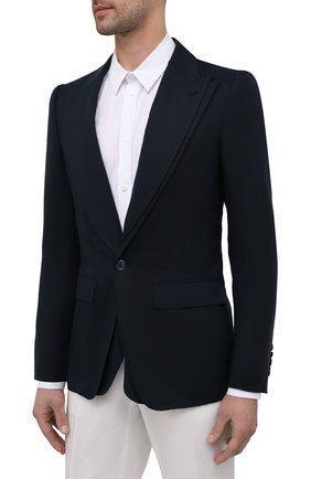 Мужской льняной пиджак DOLCE & GABBANA синего цвета, арт. G2PJ5T/FU4IK   Фото 6
