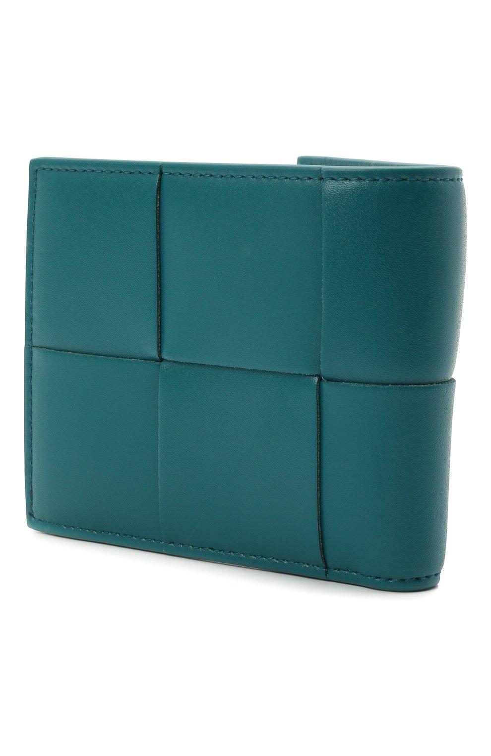 Мужской кожаное портмоне BOTTEGA VENETA бирюзового цвета, арт. 649605/VBWD2   Фото 2 (Материал: Кожа)