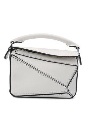 Женская сумка puzzle nano LOEWE белого цвета, арт. A510U98X01 | Фото 1 (Сумки-технические: Сумки через плечо, Сумки top-handle; Материал: Натуральная кожа; Ремень/цепочка: На ремешке; Размер: mini)