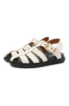 Женские текстильные сандалии MARNI белого цвета, арт. FBMS012101/P3707 | Фото 1
