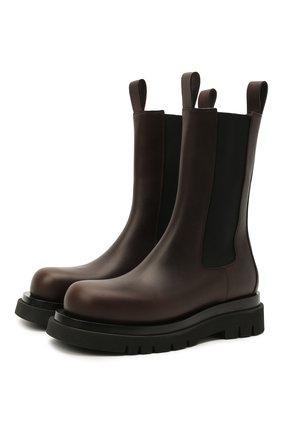 Женские кожаные ботинки bv lug BOTTEGA VENETA темно-коричневого цвета, арт. 592045/VIFH0 | Фото 1