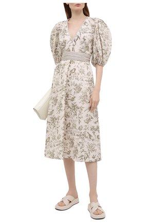 Женское льняное платье ZIMMERMANN кремвого цвета, арт. 1196DRB0T | Фото 2