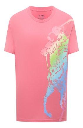Женская хлопковая футболка POLO RALPH LAUREN розового цвета, арт. 211838145   Фото 1