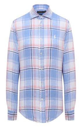 Женская льняная рубашка POLO RALPH LAUREN разноцветного цвета, арт. 211827695 | Фото 1 (Рукава: Длинные; Длина (для топов): Удлиненные; Материал внешний: Лен; Принт: С принтом, Клетка; Стили: Кэжуэл; Женское Кросс-КТ: Рубашка-одежда)