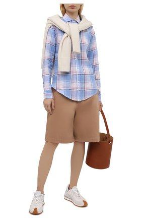 Женская льняная рубашка POLO RALPH LAUREN разноцветного цвета, арт. 211827695 | Фото 2 (Рукава: Длинные; Длина (для топов): Удлиненные; Материал внешний: Лен; Принт: С принтом, Клетка; Стили: Кэжуэл; Женское Кросс-КТ: Рубашка-одежда)
