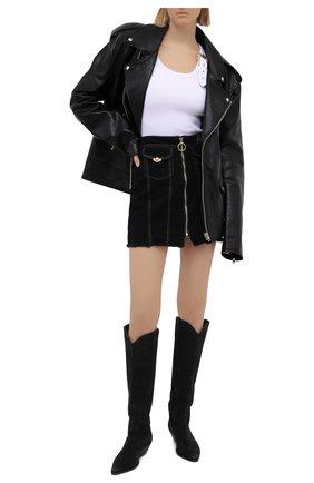 Женская джинсовая юбка VERSACE JEANS COUTURE черного цвета, арт. A9HWA33I-WDP853/ALL4P | Фото 2