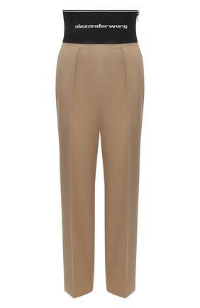 Женские хлопковые брюки ALEXANDER WANG бежевого цвета, арт. 1WC2214345 | Фото 1