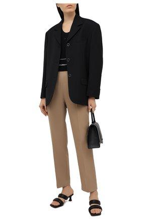 Женские хлопковые брюки ALEXANDER WANG бежевого цвета, арт. 1WC2214345 | Фото 2