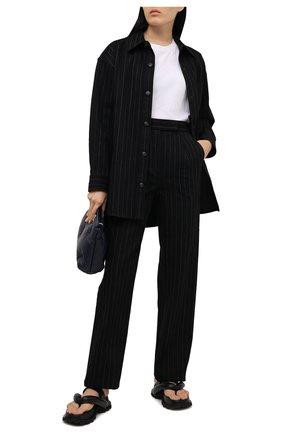 Женские хлопковые брюки ALEXANDER WANG черного цвета, арт. 1WC2214340   Фото 2