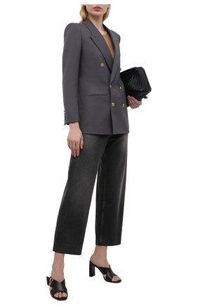 Женские кожаные мюли virtus VERSACE черного цвета, арт. DST570M/DVT2P | Фото 2 (Каблук высота: Высокий; Материал внутренний: Натуральная кожа; Подошва: Плоская; Каблук тип: Устойчивый)