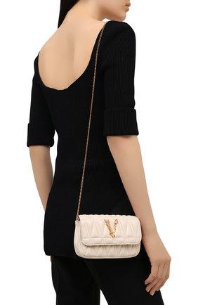 Женская сумка virtus VERSACE кремвого цвета, арт. DBFI002/D2NTRT   Фото 2