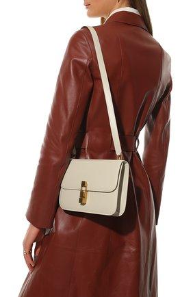 Женская сумка carre SAINT LAURENT белого цвета, арт. 633214/1YF0W | Фото 2 (Размер: small; Материал: Натуральная кожа; Сумки-технические: Сумки через плечо)