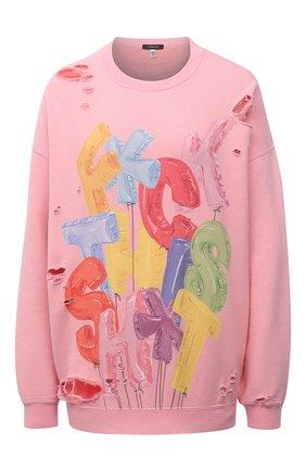 Женский хлопковый свитшот R13 розового цвета, арт. R13W9414-37   Фото 1