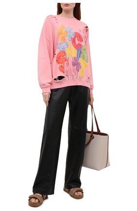 Женский хлопковый свитшот R13 розового цвета, арт. R13W9414-37   Фото 2