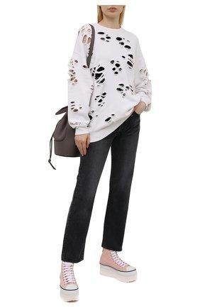 Женский хлопковый свитшот R13 белого цвета, арт. R13W9375-43   Фото 2