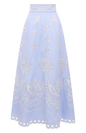 Женская хлопковая юбка REDVALENTINO голубого цвета, арт. VR0RA01M/5T4   Фото 1 (Материал подклада: Хлопок; Материал внешний: Хлопок; Длина Ж (юбки, платья, шорты): Макси; Стили: Романтичный; Женское Кросс-КТ: Юбка-одежда)