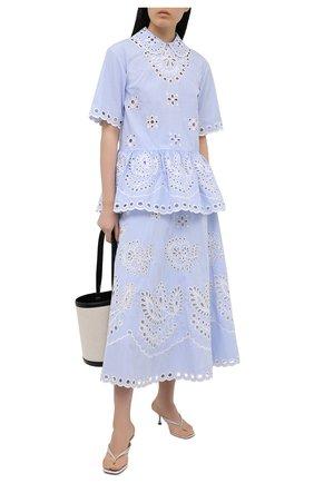 Женская хлопковая юбка REDVALENTINO голубого цвета, арт. VR0RA01M/5T4   Фото 2 (Материал подклада: Хлопок; Материал внешний: Хлопок; Длина Ж (юбки, платья, шорты): Макси; Стили: Романтичный; Женское Кросс-КТ: Юбка-одежда)