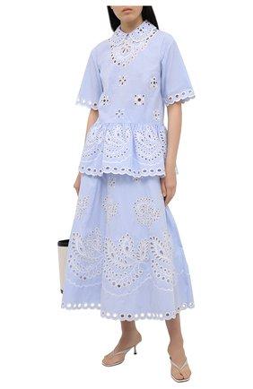 Женская хлопковая блузка REDVALENTINO голубого цвета, арт. VR0AA02U/5T4   Фото 2