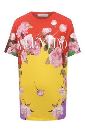 Женская хлопковая футболка VALENTINO разноцветного цвета, арт. VB0MG13G6F9 | Фото 1