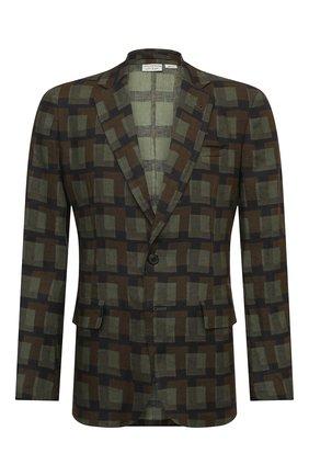 Мужской льняной пиджак DRIES VAN NOTEN хаки цвета, арт. 211-20425-2080 | Фото 1