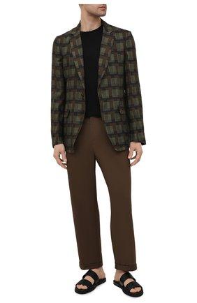 Мужской льняной пиджак DRIES VAN NOTEN хаки цвета, арт. 211-20425-2080 | Фото 2