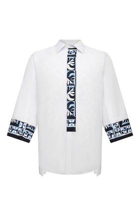 Мужская хлопковая рубашка DOLCE & GABBANA белого цвета, арт. G5IM7T/GEQ22 | Фото 1