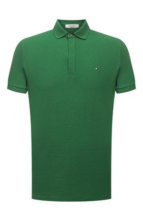 Мужское хлопковое поло VALENTINO зеленого цвета, арт. VV0MH00V3MN | Фото 1
