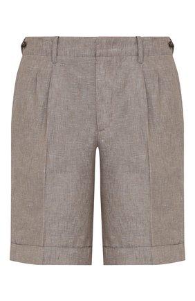 Мужские льняные шорты Z ZEGNA серого цвета, арт. VW183/ZZ368   Фото 1 (Материал внешний: Лен; Длина Шорты М: До колена; Мужское Кросс-КТ: Шорты-одежда; Стили: Кэжуэл; Принт: Без принта)