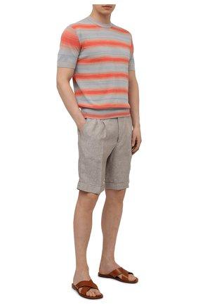 Мужские льняные шорты Z ZEGNA серого цвета, арт. VW183/ZZ368   Фото 2 (Материал внешний: Лен; Длина Шорты М: До колена; Мужское Кросс-КТ: Шорты-одежда; Стили: Кэжуэл; Принт: Без принта)