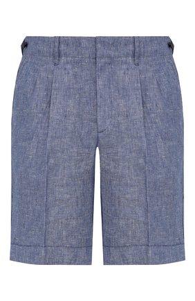 Мужские льняные шорты Z ZEGNA голубого цвета, арт. VW183/ZZ368   Фото 1 (Длина Шорты М: До колена; Материал внешний: Лен; Стили: Кэжуэл; Мужское Кросс-КТ: Шорты-одежда; Принт: Без принта)