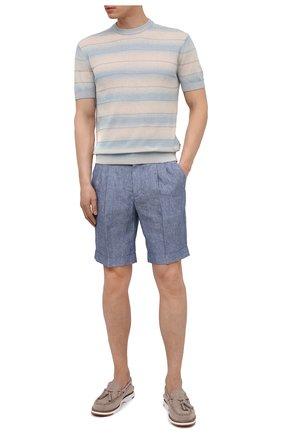 Мужские льняные шорты Z ZEGNA голубого цвета, арт. VW183/ZZ368   Фото 2 (Длина Шорты М: До колена; Материал внешний: Лен; Стили: Кэжуэл; Мужское Кросс-КТ: Шорты-одежда; Принт: Без принта)