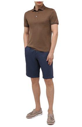 Мужское поло из хлопка и шелка ERMENEGILDO ZEGNA коричневого цвета, арт. UU576/750 | Фото 2 (Материал внешний: Шелк, Хлопок; Рукава: Короткие; Длина (для топов): Стандартные; Стили: Кэжуэл; Застежка: Пуговицы)