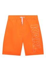 Детские плавки-шорты KARL LAGERFELD KIDS оранжевого цвета, арт. Z20055 | Фото 1