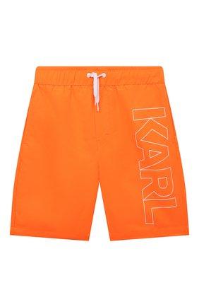 Детские плавки-шорты KARL LAGERFELD KIDS оранжевого цвета, арт. Z20055   Фото 1