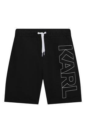 Детские плавки-шорты KARL LAGERFELD KIDS черного цвета, арт. Z20055   Фото 1