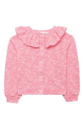 Детский хлопковый кардиган DOUUOD розового цвета, арт. 21E/U/JR/FE01/2211/3A-8A | Фото 1