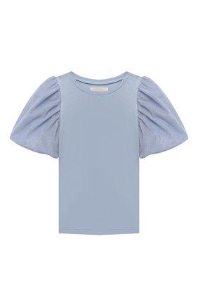 Детская хлопковая футболка DOUUOD голубого цвета, арт. 21E/U/JR/TE20/1228/10A-14A | Фото 1