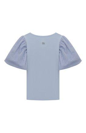 Детская хлопковая футболка DOUUOD голубого цвета, арт. 21E/U/JR/TE20/1228/3A-8A | Фото 2