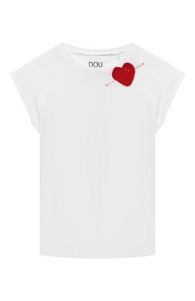 Детская хлопковая футболка DOUUOD белого цвета, арт. 21E/U/JR/TE24/1228/10A-14A | Фото 1